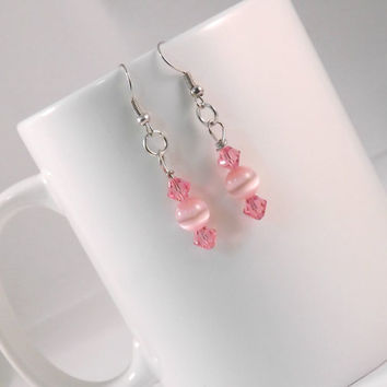 Rose Crystal Earrings, Pink Swarovski Crystal Earrings, Silver Dangle and Drop, Gifts Under 15, Pretty in Pink, Minimalist Jewelry