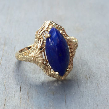 Art Deco 14k Lapis Lazuli Filigree Ring Dinner Ring 1920s Vintage Fine Jewelry