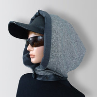 Gray Men Women Unisex Wool Scarf Cozy Cowl with Snaps and Natural Leather by Elena Joliefleur