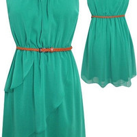 Cutout Back 'Sadie' Dress w/ Belt (Green) from Social Butterfly House