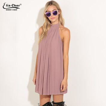 New Women Cute Dress High Neck Pleated Halter Sexy Chiffon Party Dresses Woman Clothing Summer Dress