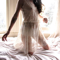 Sheer Lingerie Lace Dress - womens clothing - upcycled clothing - see through lingerie - sheer dress - bohemian clothing - wedding - bridal