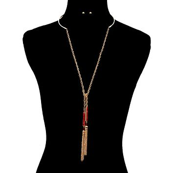 Drop Tassel Necklace Set - Wear Backwards as Solid Choker and Back Chain