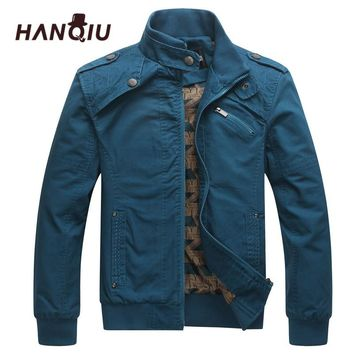 HAQNIU Bomber Jakcet Men Aeronautica Military Jackets Tactrcal Men Coat Slim Fit Thin Cotton Pilot Men Jacket