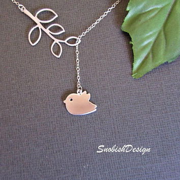 Bird Jewelry  Silver Sparrow Necklace  Silver by SnobishDesign