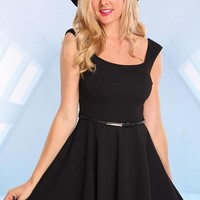 Black Sleeveless Skater Dress with Belt Waist