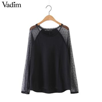 Women sexy transparent mesh patchwork polka dot shirts long sleeve o neck loose blouses ladies casual tops blusas