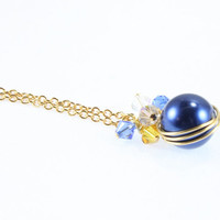School Spirit Wrapped Pearl Pendant Swarovski Crystals Blue and Gold Stephenville Yellow Jackets