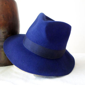 Deep Blue Wool Felt Fedora - Wide Brim Merino Wool Felt Handmade Fedora Hat - Men Women
