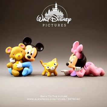 Disney Mickey Mouse Minnie baby 5cm Cute Action Figure Posture Anime Decoration Collection Figurine Toy model for children gift