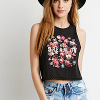 Crochet-Trimmed Rose Graphic Tank