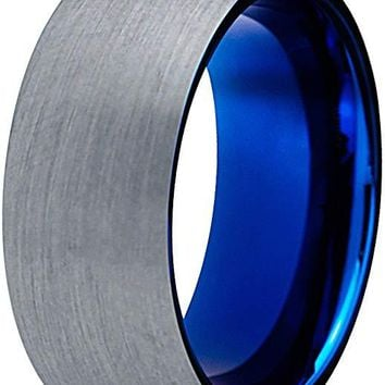 Blue Round Tungsten Wedding Ring for Men Comfort Fit and Domed Brushed Finish - 8mm