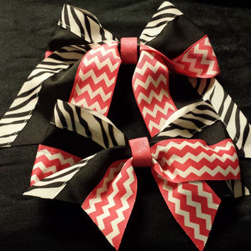 Cheer Bow, Softball Bow, Sports Bow -(Zebra Stripe and Hot Pink) custom made and can be embroidered with initials or name.