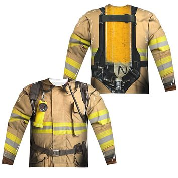 Firefighter Halloween Costume Long Sleeve T-shirt Front & Back