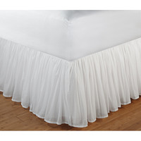 White Gathered Cotton Voile 18-inch-drop Bedskirt with Polyester Liner | Overstock.com Shopping - The Best Deals on Bedskirts