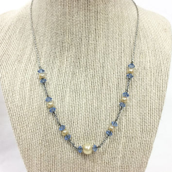 Pearl and Crystal Necklace, Blue Crystal Necklace, Silver Paper Clip Chain, Wedding Jewelry, 1930s 1940s, Vintage Jewelry