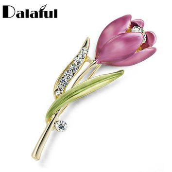 ac DCCKO2Q Elegant Tulip Flower Brooch Pin  Crystal Costume Jewelry Clothes Accessories Jewelry Brooches For Wedding Z014