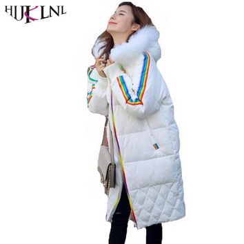 HIJKLNL Womens Winter Down Jacket and Coat With Raccoon fur 2017 Female Hooded Long Rainbow Duck Down Puffer Jacket Parka NA312