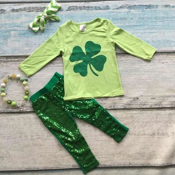4PC Girls St Patrick's Day Shamrock Sequine Leggings Outfit