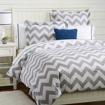 Chevron Duvet Cover, Twin, Light Gray