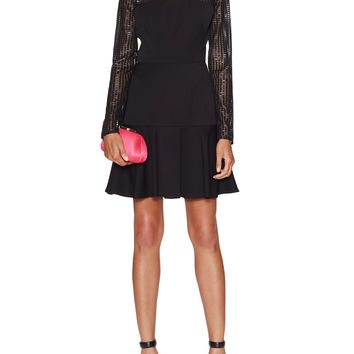 Black Halo Women's Bryn Long Sleeve Mesh Trim Dress - Black -
