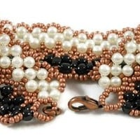 Black Bronze and Pearl Bracelet