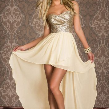 Lace Short Front Long Back Dresses Gold Sequined Strapless Top Robe De Cocktail coctail summer dress 2016 Party Dress