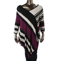 NY Collection Womens Plus Knit Striped Pullover Top