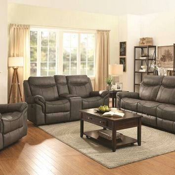 602334-35 2 pc Sayler II collection two tone taupe coated microfiber upholstered sofa and love seat with recliner ends