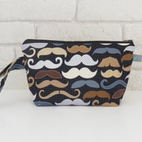 Moustache Wash Bag / Mens Toiletry Bag with wristlet strap