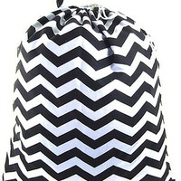 Chevron Print Laundry Bag College Dorm or Apartment Living (Black)