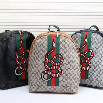 Gucci Women Men Fashion Personality Classic Print Multicolor Stripe Snake Pattern Embroidery Backpack Large Capacity Double Shoulder Bag-3