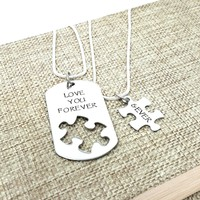 I Love You More Necklace Set, Puzzle Piece, Dog Tag Necklace, Boyfriend Gift, Forever and Ever