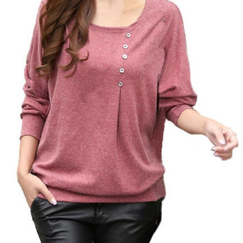 Autumn Winter  Woman's Tops O-Neck Long Batwing Sleeve Shirt Women Blouse With Button = 1946011460