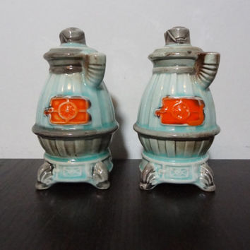 Vintage Ceramic Set of Wood Stove Shaped Salt and Pepper Shaker Set - Light Blue, Grey and Orange - Old Fashioned