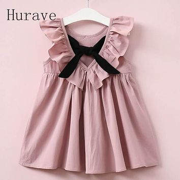 Casual Style Fashion Fly Sleeve Girls Bow Dress Girl Clothing For Children Cute Dresses