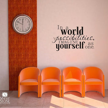 Wall Decal Quote World of Possibilites by singlestonestudios