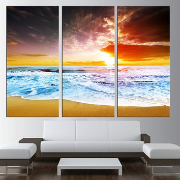 sunset beach canvas wall art, sea wall art, canvas for large wall, extra large wall art, lanscape canvas print, seaside canvas print t167