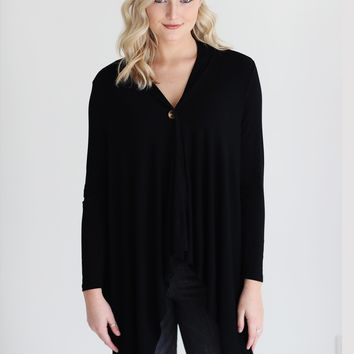 Black DLMN One-Button Wrap Cardigan