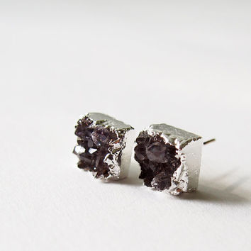 Amethyst Druzy Stud Earrings Natural Drusy Silver Studs Square Stud
