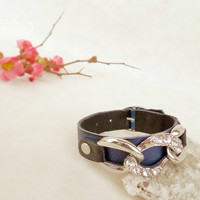 Leather cuff blue and black,  leather chain bracelet, cool jewelry