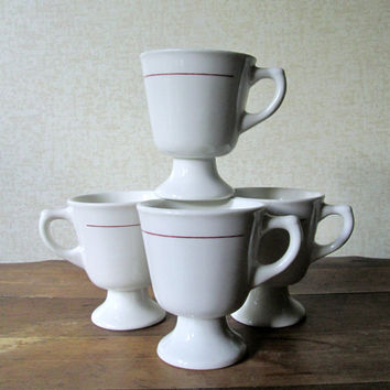 Diner Mugs coffee cups dinerware set of 4 tea cups footed pedestal restaurant ware white red line retro vintage 60s Mad Men era Walker China
