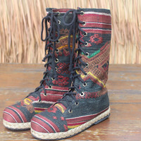 Womens Combat Boots Brown Earthy Ethnic Laos Embroidered Mid Calf Lace Up Boho Vegan Boot 6.5