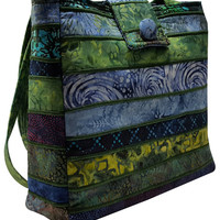 Large Batik Purse in Shades of Blue and Green Fabrics