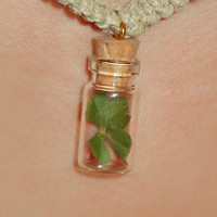 REAL Four Leaf Clover in a Bottle with cork necklace