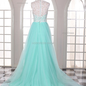 Mint Bridesmaid Dresses Lace Prom Dress Long Prom Dresses Lace Applique Bridesmaid Dresses Tulle Party Dress