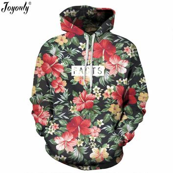 Joyonly 2017 Autumn Women/Men 3D Sweatshirts Weed Plant Cat Flower Galaxy Brand Design Hoodies With Hat Pockets Casual Tracksuit