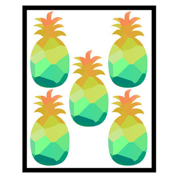 Pineapple print - Kitchen decor Kitchen art Kitchen wall art Low poly print Low poly art Pineapple art Digital print Home decor print