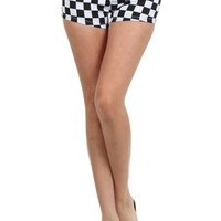 Checkered Black and White Shorts