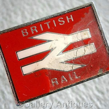 Vintage retro British Rail Chrome and Red and White Enamel railway Pin / Lapel Badge by Clubman c.1970's (ref: 3206)
